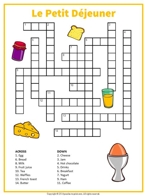 easy crossword puzzles in french french breakfast crossword printable vocabulary builder