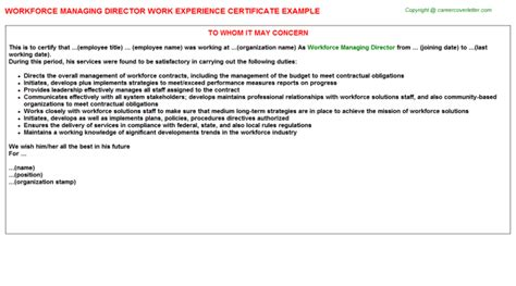 certify letter for director workforce managing director work experience certificate