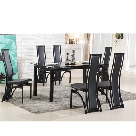black glass extending dining table 6 chairs florence extending black glass dining table with 6 dining