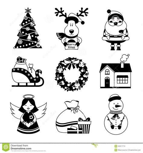 clipart bianco e nero icone di natale in bianco e nero illustrazione vettoriale