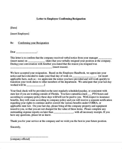 resignation acceptance letter templates