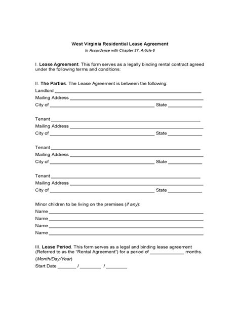 West Virginia Residential Lease Agreement Free Download Virginia Lease Template