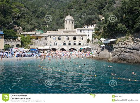 san fruttuoso abbey italy editorial photography image