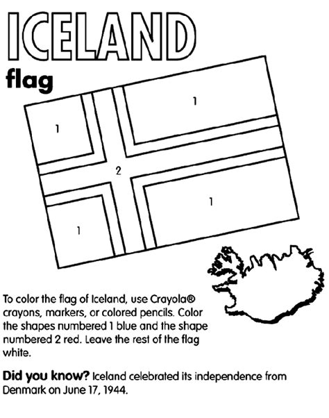 Iceland Flag Coloring Page iceland coloring page crayola