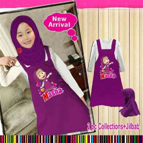 Setelan Anak Spandek St 3in1 baju gamis anak masha and the