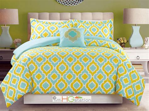 4 pc flocking moroccan trellis quatrefoil comforter set