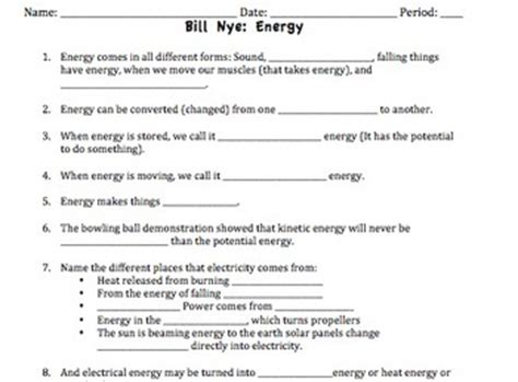 The Of Nye Nuclear Energy Worksheet by Bill Nye Energy Worksheet By Mayberry In Montana Tpt