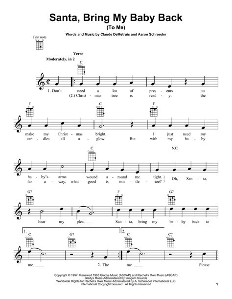 baby shark ukulele tab santa bring my baby back to me by aaron schroeder