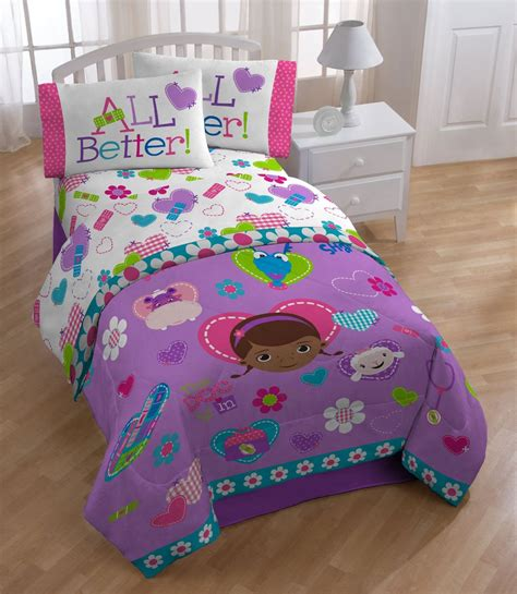 disney doc mcstuffins twin bed sheet set animal friends
