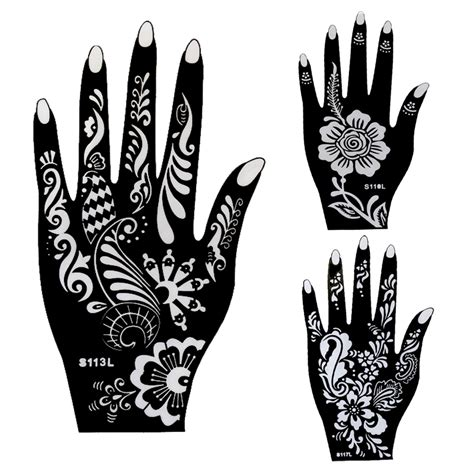 10pcs large henna tattoo stencils flower glitter airbrush