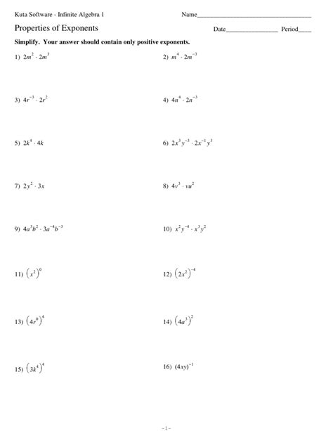 Exponent Worksheets Algebra 1 by Properties Of Exponents