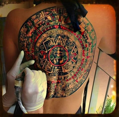 aztec calendar tattoo by grumpy single needle youtube