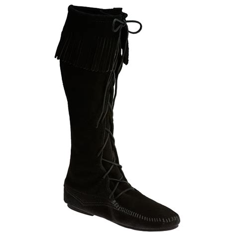 mens knee high moccasin boots minnetonka moccasins 1929 s knee high boot