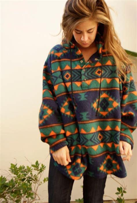 Sweater Tribal Aztec Tribal Print Hooded Hoodie Oversized Sweater