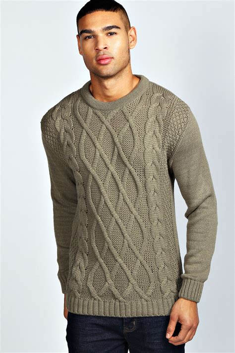 mens knitted jumpers boohoo mens sleeve crew neck cable knit jumper ebay