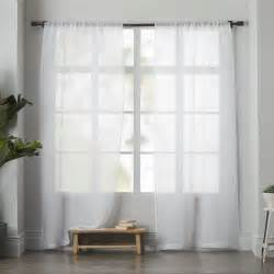 white sheers curtains sheer linen curtain white west elm