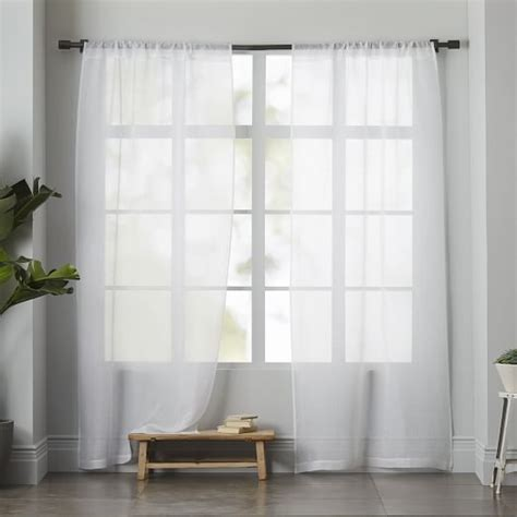 white linen sheer curtains sheer linen curtain white west elm