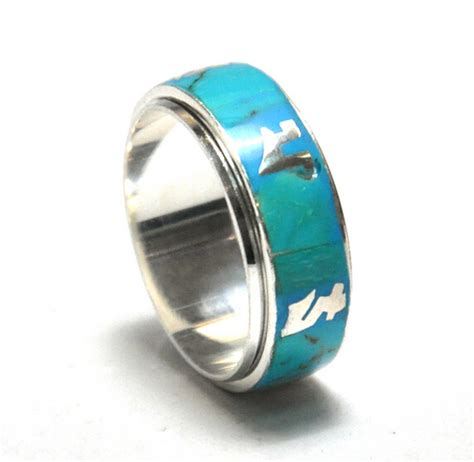 nepal 925 sterling silver turquoise ring om padme hum