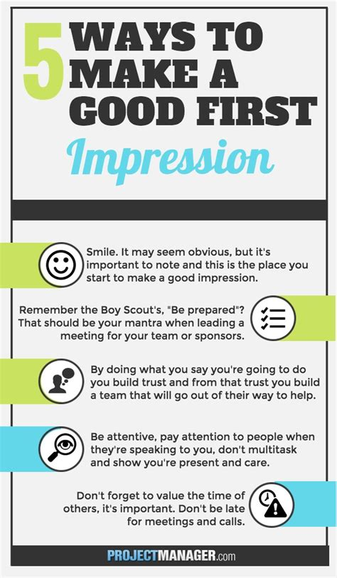 7 Ways To Make A Impression At An by 5 Ways To Make A Impression Projectmanager