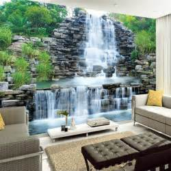 custom 3d mural wallpaper water flowing waterfall nature