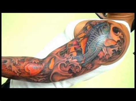 full sleeve koi fish tatoo blue amp orange wmv youtube