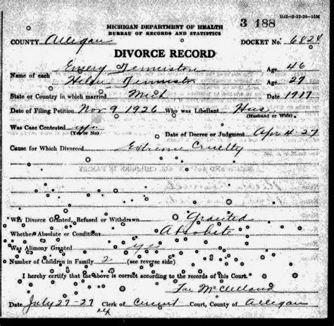 Calhoun County Divorce Records Emery Otis Denniston B 1880