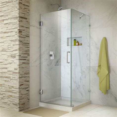 Frameless Corner Shower Doors Dreamline Unidoor 30 In X 72 In Frameless Corner Hinged Shower Door In Chrome With Handle