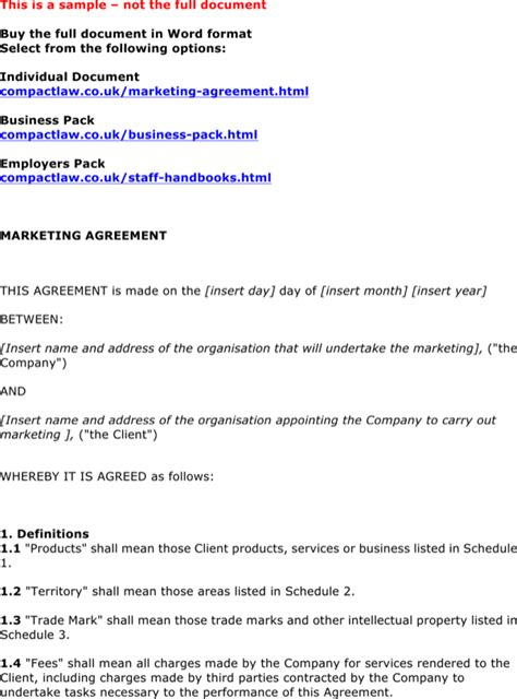 marketing agreement template marketing agreement template 1 for free page 4