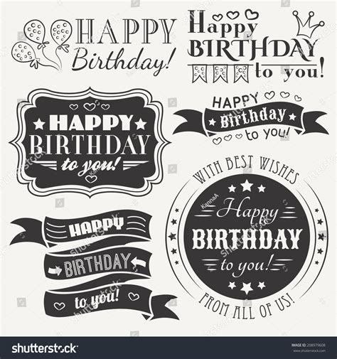Happy Birthday Wishes In Different Fonts Happy Birthday Greeting Card Collection In Holiday Design