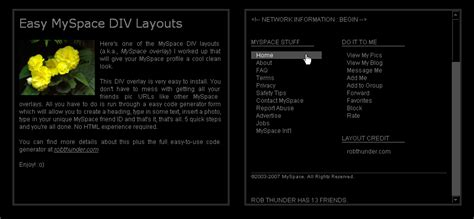 layout maker myspace layout generator myspace