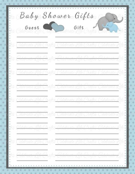 list of for baby shower baby shower gift list printable baby shower