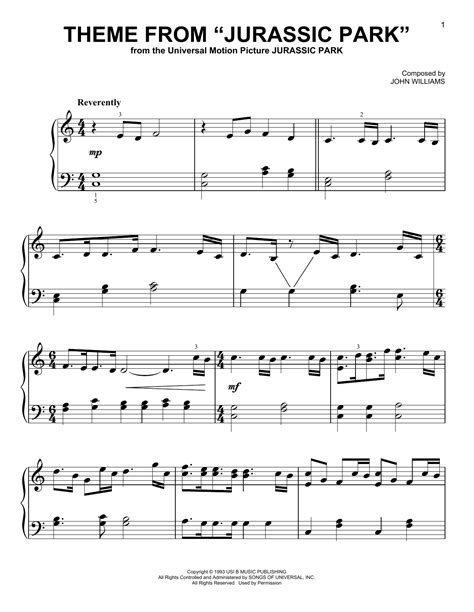 theme songs jurassic park theme from jurassic park sheet music direct