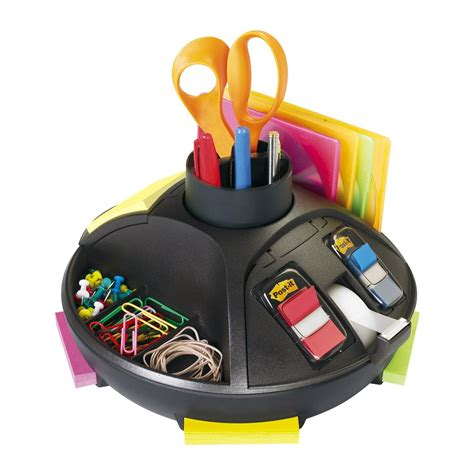 rotary desk organizer 3m post it c91 rotary desktop organizer black