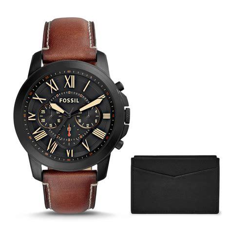Black Hawk Chrono Light Brown Black fossil s fs5335set grant chronograph light brown leather card box set black