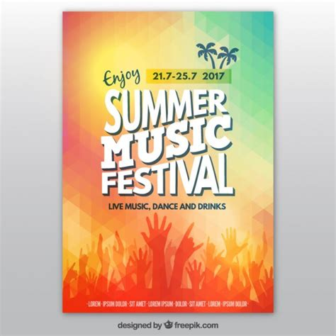 colorful summer music festival poster vector free download