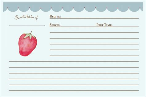 3x5 Blank Recipe Card Template by Sle Recipe Card Template 6 Free Documents