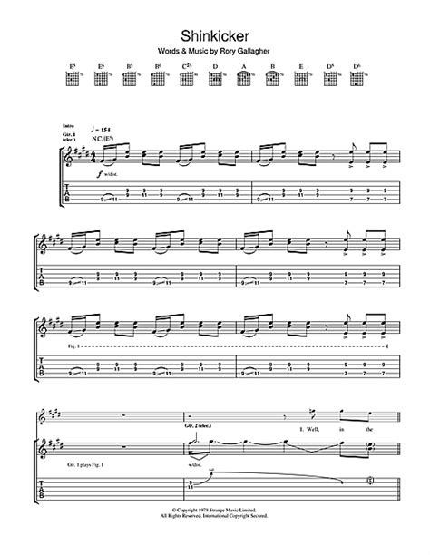 tattoo lady rory gallagher chords rory gallagher shinkicker sheet music