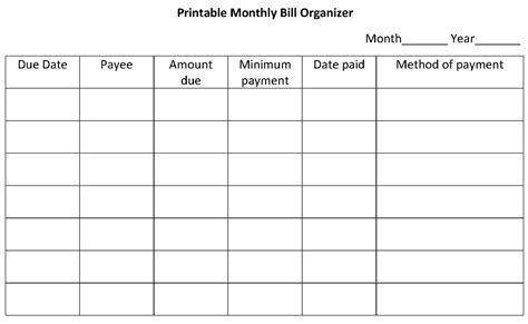 blank printable monthly bill organizer search results