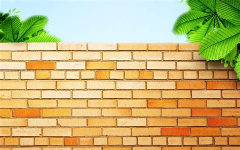 Tree Covered Brick Wall Backgrounds For Powerpoint Miscellaneous Ppt Templates Wall Powerpoint Template