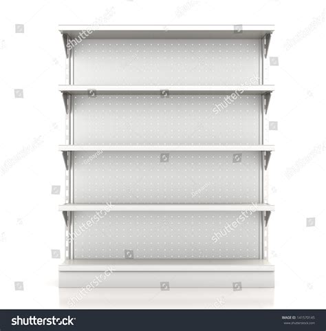 Stock Shelf by Supermarket Shelves Render Front On White Stock Illustration 141570145