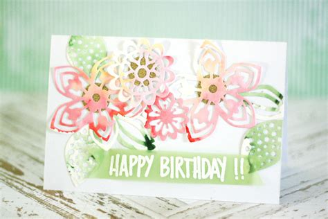 Watercolor Birthday Card Crafting Ideas From Sizzix Uk Watercolor Birthday Card