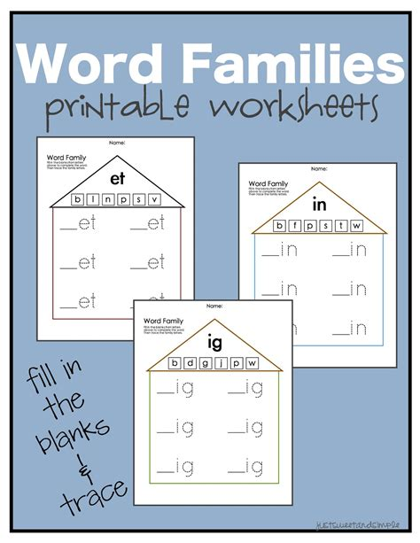 in word family worksheets for kindergarten word family
