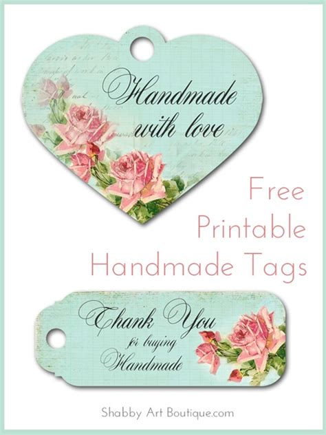 Tags For Handmade Items - free printable handmade tags shabby boutique