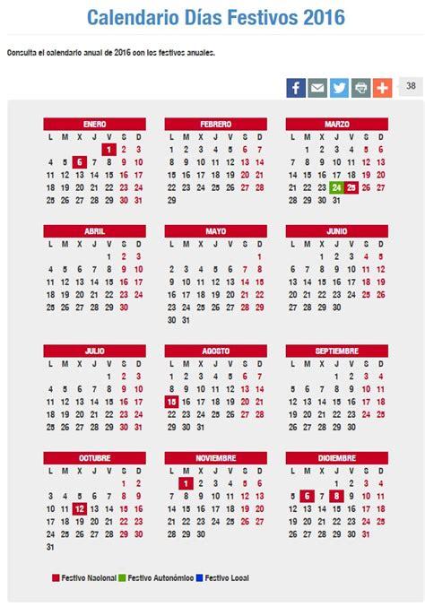 Calendario Laboral 2016 Por Semanas Calendario Laboral De 2016 Puentes Festivos Semana