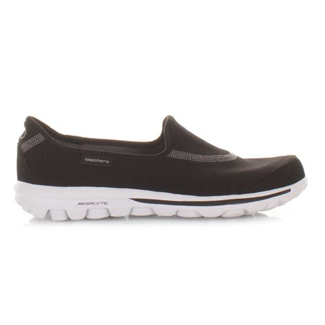 skechers shoes go walk black white comfort fitness