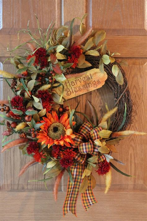 Large Wreaths For Front Door Harvest Blessings Front Door Wreath Large Orange Sunflowers And Mums