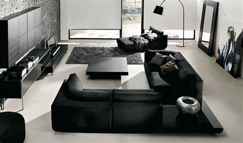 modern black white living room decoration interior