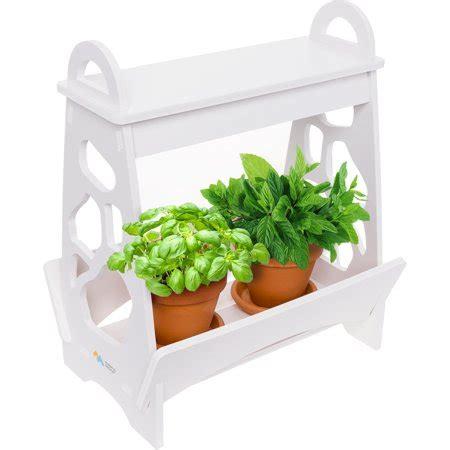 mindful design white led indoor  home mini planter herb