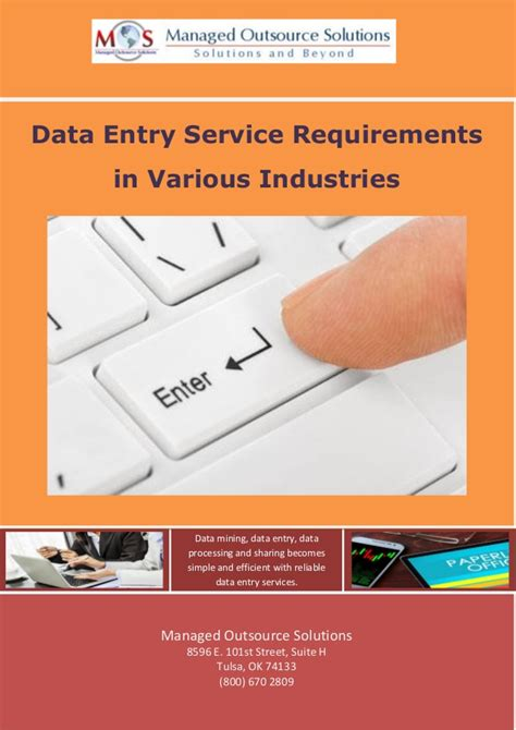 service requirements data entry service requirements in various industries