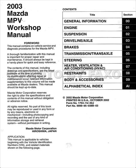 mazda mpv repair manual 2000 filetravels